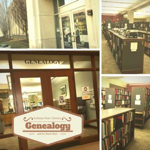 The Indiana State Library Genealogy Section is located on the first floor of the library. Step on in and near the back you will find the Family History Books by sorted by surname.
